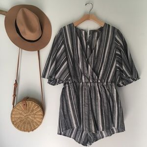 NWT blue and white striped romper